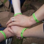 'Many Hands' bands, the abseil.
