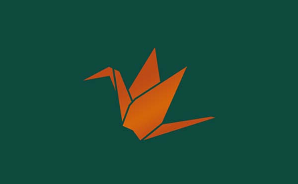 Our rebrand included developing the new Smith Goodfellow logo - a copper/orange origami crane on a green background.